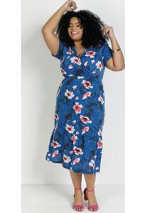 Vestido Midi Floral Azul Transpasse Plus Size