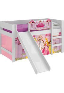 Cama Com Escorrega E Luz/Led Princesas Disney-Pura Magia - Branco