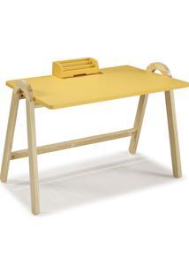 Mesa Escrivaninha Com Porta Objetos Ringo 1031 Natural/Amarelo - Maxima