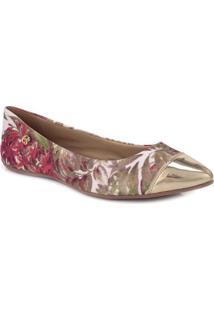 Sapatilha Floral Com Recorte Metalizado- Marrom & Rosacarmen Steffens