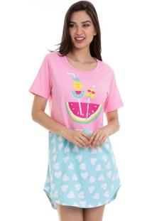 Camisola Feminina Manga Curta Verão Frutinhas Em Algodão Luna Cuore