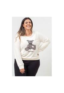 Blusa Estampada Almaria Plus Size Garage Gola Redonda Off-White