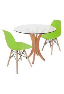 Conjunto Mesa De Jantar Tampo De Vidro 90Cm Com 2 Cadeiras Eiffel - Verde