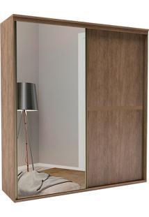 Guarda-Roupa Solteiro 1,78Cm 2 Portas C/ Espelho Sofisticado-Belmax - Ebano