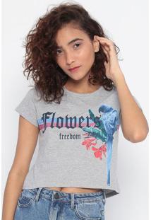 "Blusa ""Flobers"" Com Tiras- Cinza & Azul Escuro- Malwmalwee"