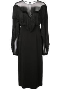 Alberta Ferretti Vestido Com Franjas - Preto