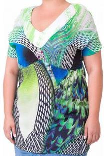 Blusa Confidencial Extra Plus Size Pedras Feminina - Feminino-Verde
