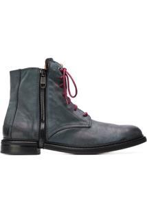 Diesel Ankle Boot De Couro - Cinza