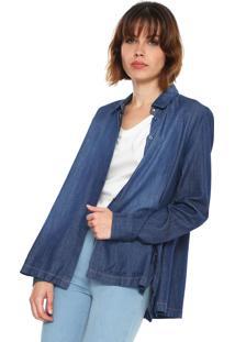 Camisa Jeans Forum Reta Estonada Azul