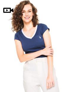 Camiseta U.S. Polo Bolso Azul-Marinho