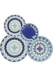 Aparelho De Jantar Biona Lola Cerâmica 20 Peças Azul