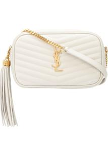 Saint Laurent Quilted Monogram Shoulder Bag - Branco