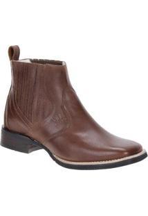 Bota Couro Bico Quadrado Western Via Boots Masculina - Masculino-Marrom