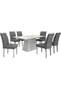Conjunto De Mesa 1.80M Com 6 Cadeiras Pampulha Branco Tecido Linho Cinza Leifer Móveis