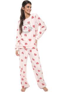 Pijama Cor Com Amor Estampado Rosa