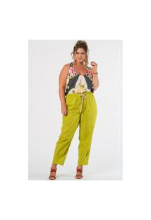 Calça Lisa Slouch Linho Plus Size Verde
