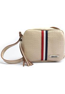 Bolsa Transversal Maria Milão Mini Bag Crocô Off White