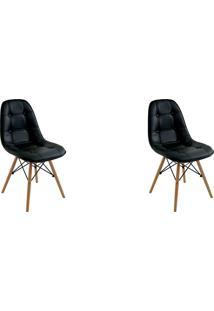 Kit 02 Cadeiras Eiffel Botone S/ Braço Preto Rivatti