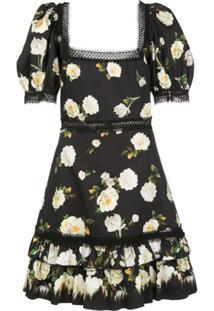 Alice+Olivia Vestido Mini Wylie Com Decote Quadrado - Preto