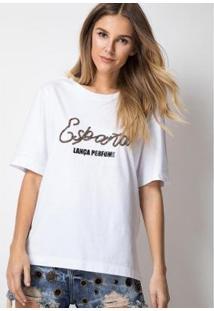 T-Shirt Bordada España Lança Perfume Feminina - Feminino-Branco