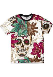 Camiseta Bsc Caveira Floral Full Print Masculina - Masculino-Branco