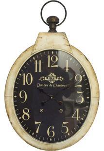 Relógio De Parede Oval Fundo Escuro Oldway 85X51X6