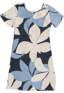 Vestido Adulto Com Estampa Floral Azul