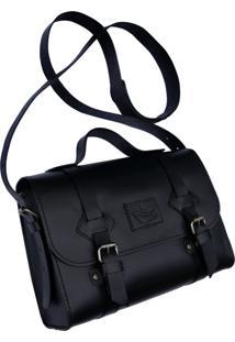 Bolsa Line Store Leather Satchel Oregon Pequena Couro Preto Premium - Kanui