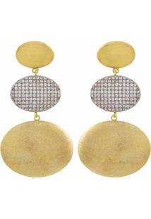 Brinco Narcizza Semijoias Triplo Oval Ouro Liso E Escovado Com Zircônia Cristal Ouro