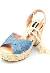 Sandália Love Shoes Salto Bloco Meia Pata Cruzada Amarrar Jeans Claro