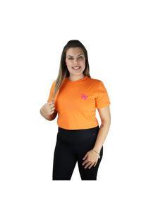 Cropped Feminino Blusa Borboleta Cor Do Verão Laranja
