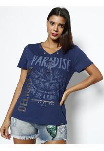 Camiseta Com Corrente- Azul Marinho & Azuldimy