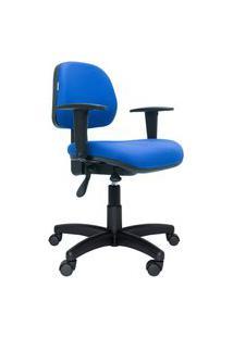 Cadeira Ergonômica Profission. Ajuste Lombar. Estrutura E Base Preta. Tecido. Braços Reguláveis. Azul. Prolabore Produtos Ergonômicos