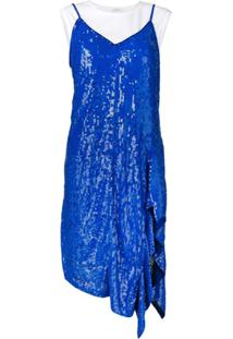 P.A.R.O.S.H. Vestido Com Sobreposição De Paetês - Azul