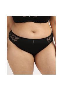 Calcinha Feminina Dilady Plus Size Cintura Alta Em Microfibra Com Renda Preta