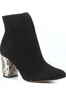 Bota Couro Cano Curto Shoestock Salto Bloco Snake Feminina - Feminino-Preto