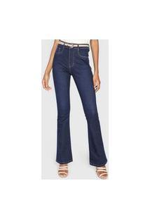 Calça Jeans Sawary Flare Pespontos Azul-Marinho