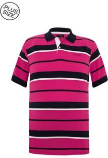 Polo Plus Size Pink Navy