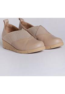 Sapato Anabela Feminino Usaflex Bege