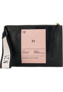 Nº21 Bolsa Clutch 'Numerology' De Couro - Preto