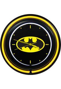 Relógio De Parede Dco Plástico Batman 38Cm Preto/Amarelo