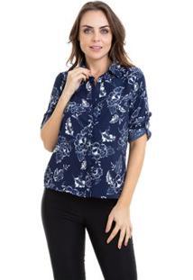 Camisa Kinara Estampada Manga Martingale Feminina - Feminino-Azul