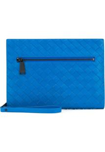 Bottega Veneta Bolsa Carteiro Com Padronagem Trançada - Azul