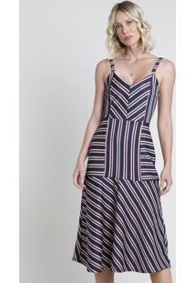 Vestido Feminino Midi Listrado Com Recortes Alça Fina Azul Marinho
