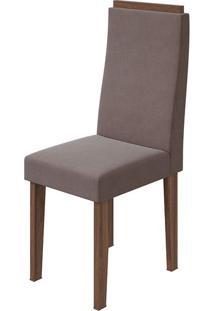 Cadeira Dafne Velvet Rosê Imbuia Naturale