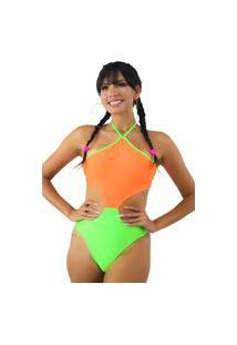 Body Racy Modas Neon Com Cava Na Cintura Multicolorido