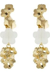 Brinco Barbara Strauss Semi Joia Flores Em Resina Lalique Rev Em Ouro 18K - Feminino-Dourado