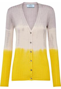 Prada Cardigan Color Block Canelado - Amarelo