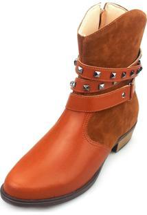 Bota Love Shoes Cano Curto Country Tiras Cruzadas Fivela Caramelo