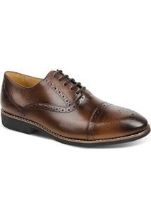 Sapato Masculino Linha Premium Oxford Sandro Moscoloni 16047 Marrom Escuro